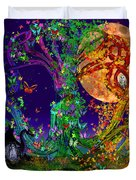 Tree Of Life With Owl And Dragon Duvet Cover