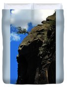 Tree On A Cliff At Battleship Rock New Mexico - 003 Duvet Cover