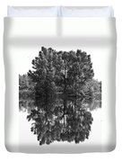 Tree Reflection In Black And White Duvet Cover