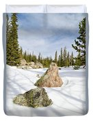 Tree Shadows On Snow Duvet Cover