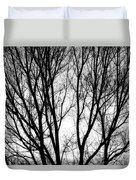 Tree Silhouettes In Black And White Duvet Cover