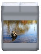 Tree Stump Surrounded By Water Duvet Cover