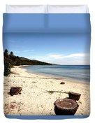 Tree Stumps On White Beach Duvet Cover