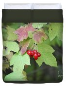 Tree With Red Berry Duvet Cover