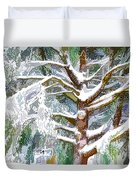 Tree With White Fluffy Snow Duvet Cover
