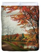 Trees Along The Canal Duvet Cover