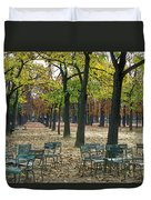 Trees And Empty Chairs In Autumn Duvet Cover