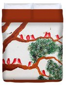 Trees And Red Birds 1 Duvet Cover