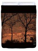 Trees And Sunrise Duvet Cover