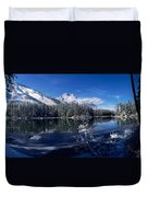 Trees At The Lakeside, Yellowstone Duvet Cover