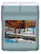 Trees At The Rivers Edge Duvet Cover
