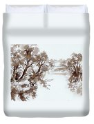 Trees By A River Duvet Cover