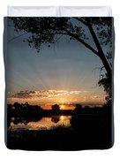 Trees Frame A Great Plains Sunrise Duvet Cover
