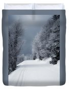 Trees Hills And Snow Duvet Cover