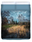 Trees In A Fog On A Background Of The River In Summer Morning  Duvet Cover