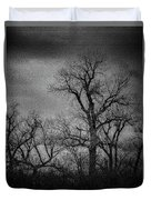 Trees In Storm In Black And White Duvet Cover