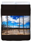 Trees In The Midway Geyser Basin Duvet Cover