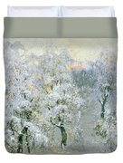 Trees In Wintry Silver Duvet Cover