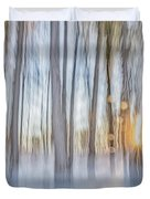 Trees, Snow And Golden Light Abstract Duvet Cover