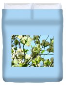 Trees White Dogwood Flowers 9 Blue Sky Landscape Art Prints Duvet Cover