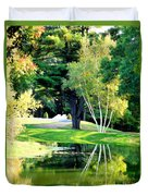 Trees With Mirror Lake 2 Duvet Cover