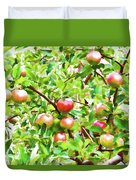 Trees With Red Apples In An Orchard Duvet Cover