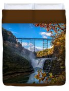 Tressel Over The High Falls Duvet Cover by Dick Wood