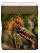 Tri Colored Heron Chick Duvet Cover