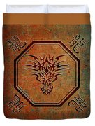 Tribal Dragon Head In Octagon With Dragon Chinese Characters Duvet Cover