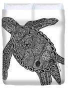 Tribal Turtle I Duvet Cover by Carol Lynne