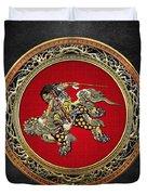 Tribute To Hokusai - Shoki Riding Lion  Duvet Cover