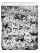 Trilliums On The Forest Floor Bw Duvet Cover