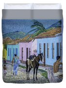 Trinidad Lifestyle 28x22in Oil On Canvas  Duvet Cover