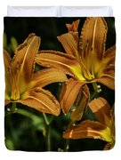 Trio Of Orange Tiger Lilies Duvet Cover