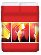 Triple Lily Paintings Duvet Cover