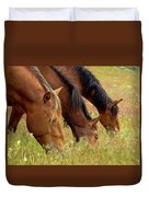 Triple Mustang Treat Duvet Cover