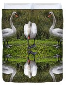 Triplets In Reflection Duvet Cover