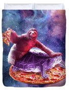 Trippy Space Sloth Turtle - Sloth Pizza Duvet Cover