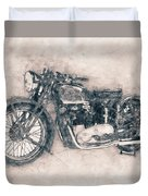Triumph Speed Twin - 1937 - Vintage Motorcycle Poster - Automotive Art Duvet Cover