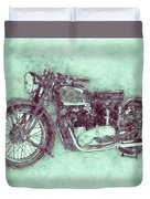 Triumph Speed Twin 3 - 1937 - Vintage Motorcycle Poster - Automotive Art Duvet Cover
