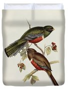 Trogon Collaris Duvet Cover by John Gould