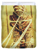 Trojan Horse Wooden Toy Being Pulled By Ropes Duvet Cover