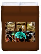 Trolley Driver In New Orleans Duvet Cover