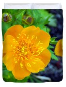 Trollius Blossom Duvet Cover