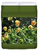 Trollius Europaeus Spring Flowers In The Rain Duvet Cover