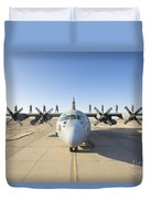 Troops Stand On The Wings Of A C-130 Duvet Cover