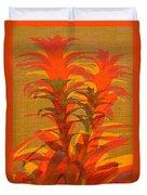 Syncopated Botanicals In Tangerine Orange Duvet Cover