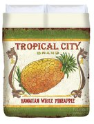 Tropical City Pineapple Duvet Cover by Debbie DeWitt