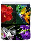 Tropical Flowers Multiples Duvet Cover