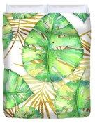 Tropical Haze Blanche Variegated Monstera Leaves, Golden Palm Fronds On Black Duvet Cover
